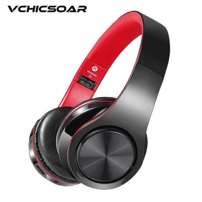 Vchicsoar Bluetooth Headphones Wireless Headset V4.2 Stereo Noise Reduction Support TF Card Audio Cable with Mic for MP3 Phone