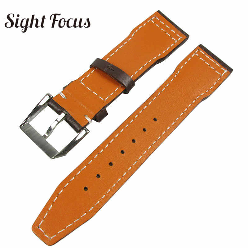 super popular 94b76 3030f 20mm 21mm Men Watch Band for IWC Pilot Mark XVIII IW327004 IW377714 Watch  Strap Brown Belts Bracelet Calf Leather Bands for Man