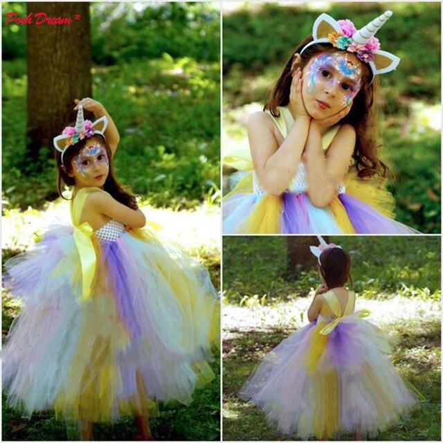 Posh Dream Pastel Rainbow Layer Unicorn Tutu Dress For Little Children Clothes Baby Kids