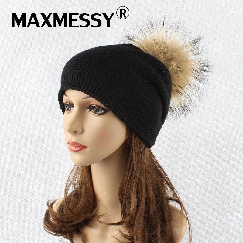 MAXMESSY New Women Wool Hat Winter Warm Raccoon Fur Pom Poms Knited Cap Women Fashion Solid Color Female   Skullies     Beanies   MH075