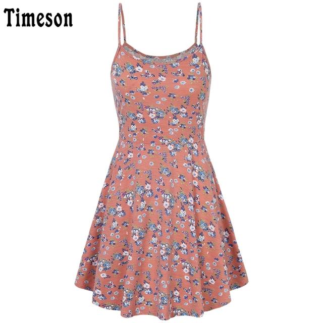 Timeson Summer Style Sleeveless Women Floral Print Dress Stretch Big Hem Casual Beach Mini Dresses Spaghetti Strap Female Tunic