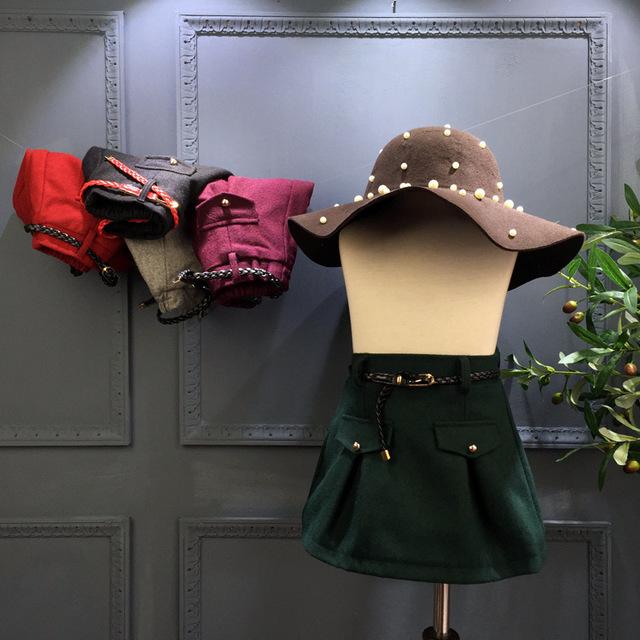 No outono de 2016 meninas novas estilo Europeu bolso da saia de lã multicolor uma saia livre do transporte A-line