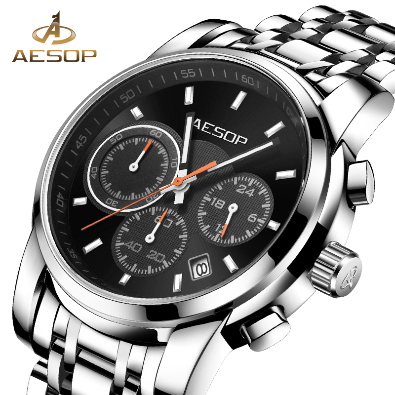 AESOP Men Quartz Watches Men Wrist Wristwatch Brand Black Chronograph Male Clock Waterproof Stainless Steel Relogio Masculino 27 eyki top brand men watches casual quartz wrist watches business stainless steel wristwatch for men and women male reloj clock