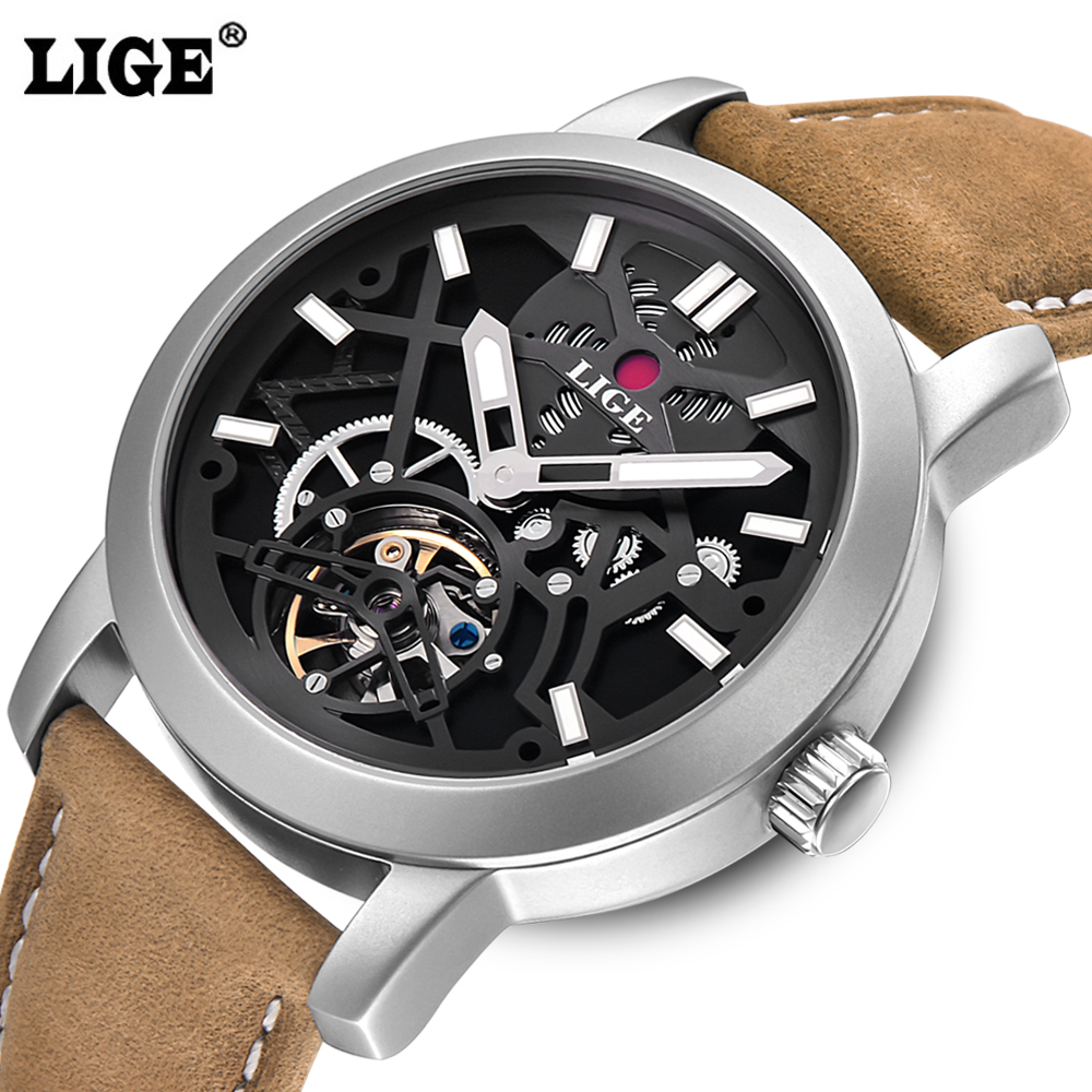 LIGE 2016 NEW Men's Skeleton WristWatch 3D face Genuine Leather Casual sport Automatic Skeleton Mechanical Watches Male Relojes novel new skeleton face men automatic watches self wind leather belt casual wristwatch sports designer gear frame relojes nw4509