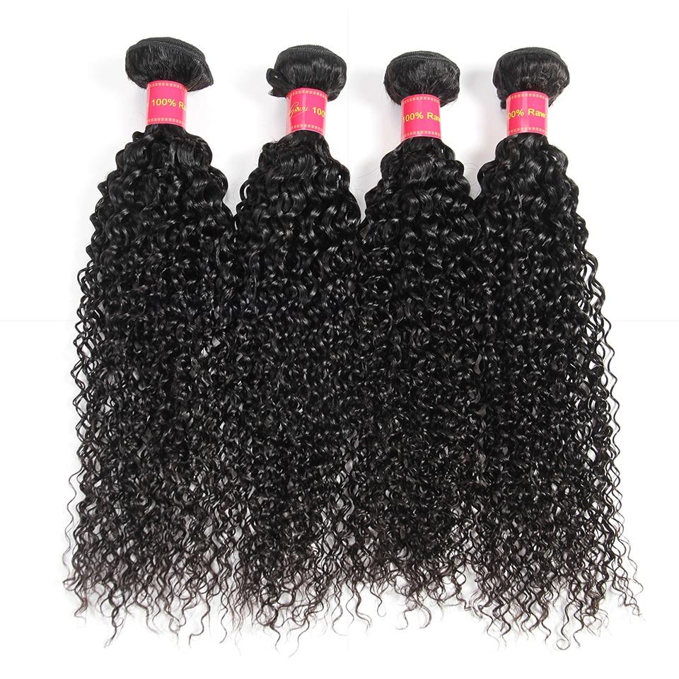 Dejavu Brazilian Kinky Curly Hair Human Hair Bundles 4 Bundles Human Hair Weave Bundles Natural Color Non Remy Hair Extension