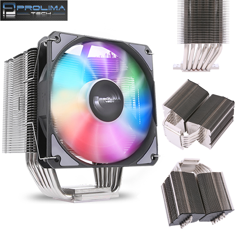 Prolimatech Basic 83 AMD Intel CPU Processor Radiator Cooling Cooler RGB Fan LGA 2011 2066 AM4 115X AM3 FM1 FM2 CPU heat sink lanshuo pc amd intel processor cooling 12cm mm 6 heat pipe heat sink radiator fan led cpu cooler lga 775 115x 1366 2011 am3 am4