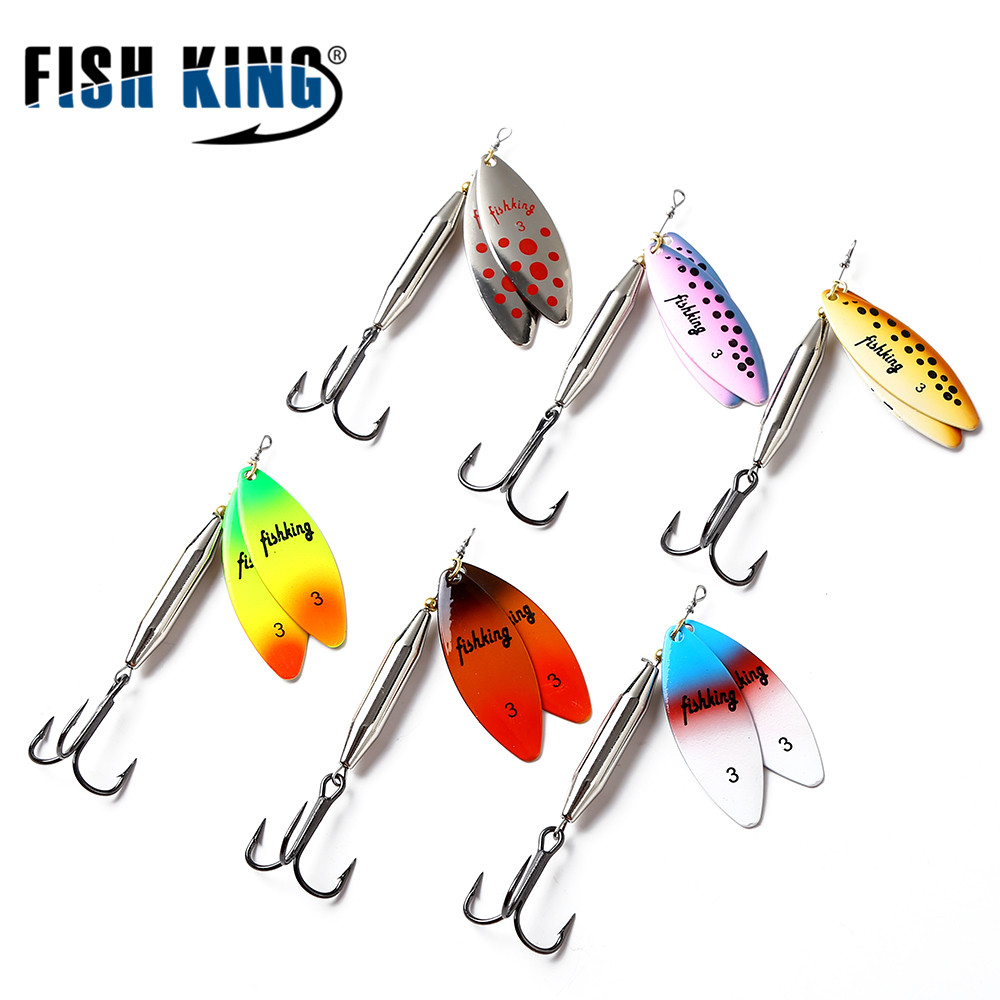 FISH KING Mepps Brass Material Long Cast Double Piece 10 Color With Mustad Treble Hook Fishing Lure