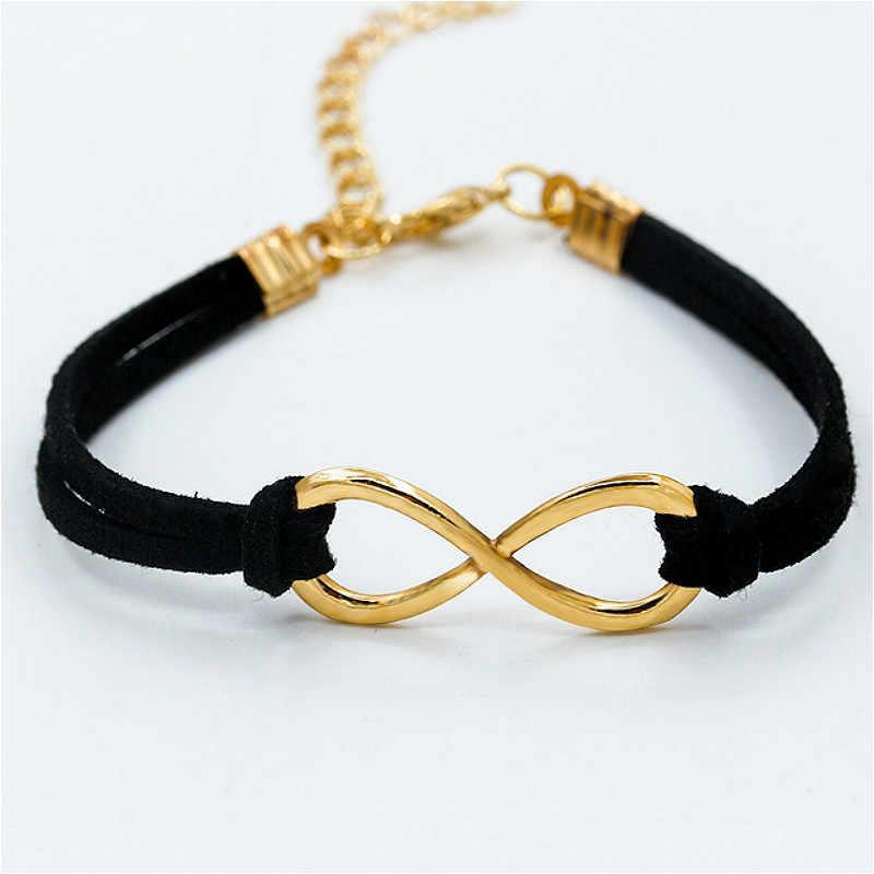 Hot European Cheap Punk Fashion Vintage 8 Cross Leather Cuff Bracelets For Women Gift Bangles Men Jewelry Bracelet