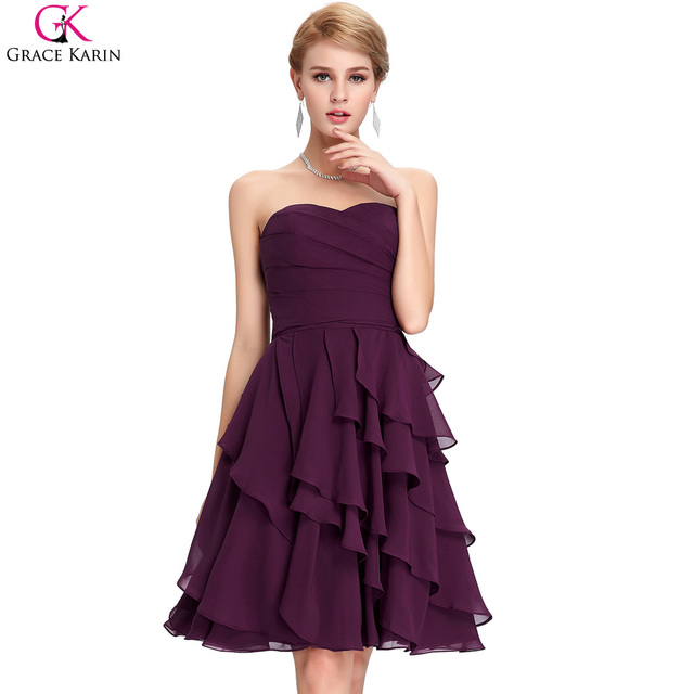 Grace Karin Cocktail Dress Simple Strapless Chiffon Short Purple Formal Gowns  Wedding Party Dress Special Occasion