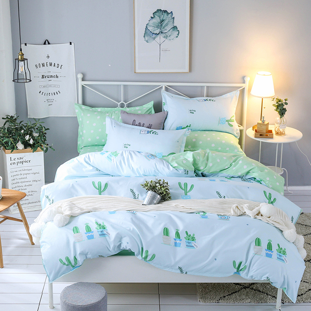 Hot Design Bedding Set Plant cactus happy time Duvet Cover Flat Sheet Pillowcase Quilt Cover Bed Set Full Queen King