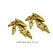 10 PCS VNMG160404/160408-TM P201F ferramenta de tornear lâmina de propósito Geral para peças de aço PVD Revestido de Metal Duro Lâmina