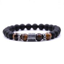 2019 Trendy Men jewelry Natural Black matte Beads Stone CZ Charm bracelet Bracelets For Women gifts