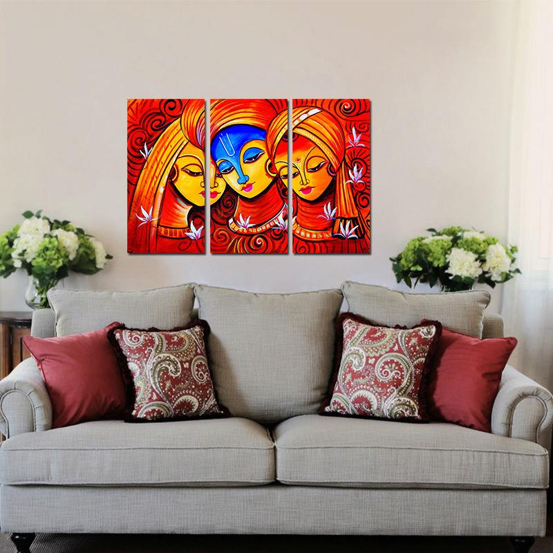 3 Pcs Retro Hot Red Figure Living Room Decoration India Woman Amorous Canvas Print Painting Wall Art Picture Home Decor Unframed In Calligraphy