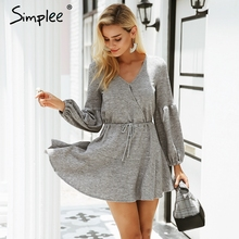Simplee Latern mouw gebreide trui jurk vrouwen Sexy v hals herfst winter jurk Losse witte jurk vestidos robe femme ete 2018