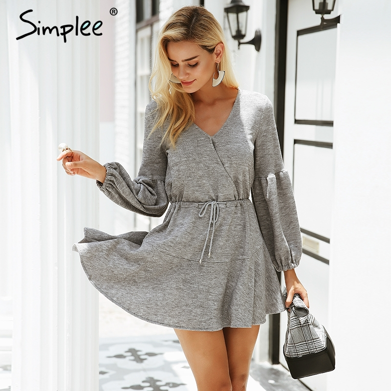 Simplee Lantern Sleeve Knitted Sweater Dress S18DR0135