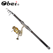 OBEI 2.1-3.6m Telescopic Fishing Rod and 5BB Fishing Reel Wheel Transportable Journey Fishing Rod Spinning Fishing Rod Combo