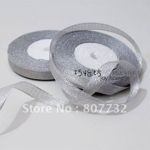 "Silver ribbon, 3/8"" (1cm) width, 25 yard length, giftbox tape, shipping free,wholesale"