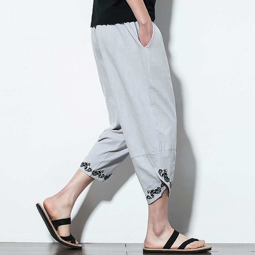 men pants casual Loose linen trousers men Summer Men Casual Harem Pants Jogger Pants Fitness Trousers Linen Pants Y617