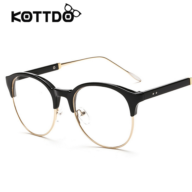 15c276402b Fashion Eyeglasses Clear Lens Unisex Retro Glasses Round Half Frame Vintage  Eyewear Frame For Women Men s Goggles oculos de grau