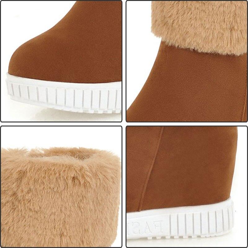 € 24.29 48% de DESCUENTO|Fanyuan felpa hembra invierno zapatos mujer peluda plataforma botas de nieve caliente sólido cremallera aumento de la altura