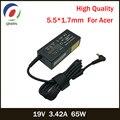 19V 3.42A 65W 5,5*1,7mm AC Адаптер зарядного устройства для ноутбука Acer Aspire 5315 5630 5735 5920 5535 5738 6920 6530G 7739Z источник питания