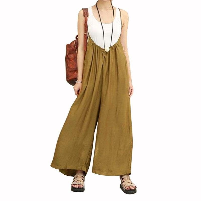 MOBTRS Straight Elastic   Wide     Leg     Pants   Women Cotton Linen Casual Loose Harem   Pants   Fashion Female Ankle-length Length   Pants