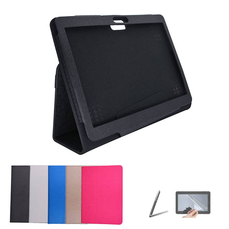 For Supra M14AG M142G 10.1 inch Tablet Case PU Leather Protective Shell Stand Cover + Stylus + Screen Protector