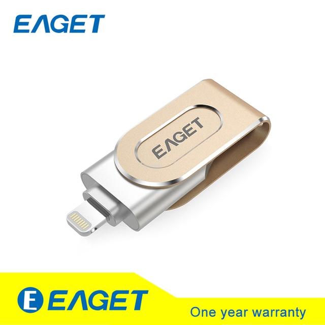 I80 Original EAGET 32/64/128 GB Unidades Flash USB Cifrado 3.0 OTG de Alta Velocidad para ios material metálico pluma del palillo para el iphone para el ipad pc