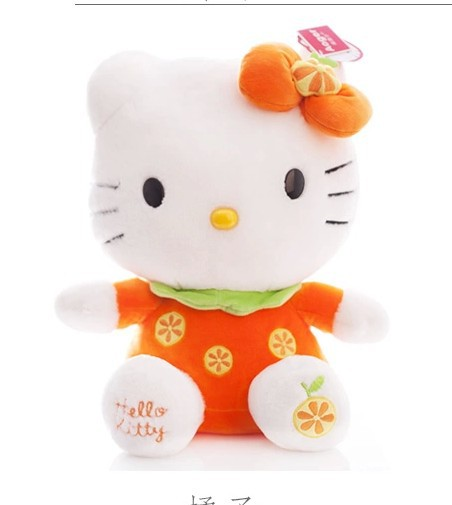 NEW STuffed animal orange fruit kt hello kitty  about 45cm plush toy 18 inch soft Toy birthday gift wt9449 stuffed animal 120 cm cute love rabbit plush toy pink or purple floral love rabbit soft doll gift w2226