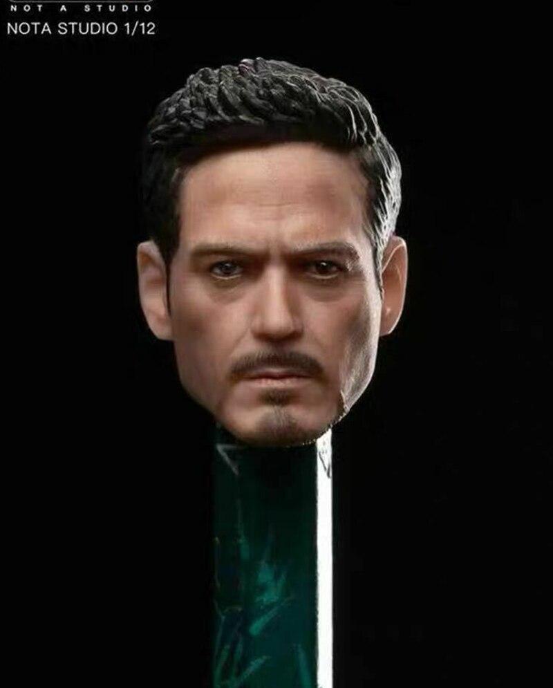 "Iron Man 1//12 Head Sculpt Carving Model Tony Stark Man for 6/"" Action Figure Body"