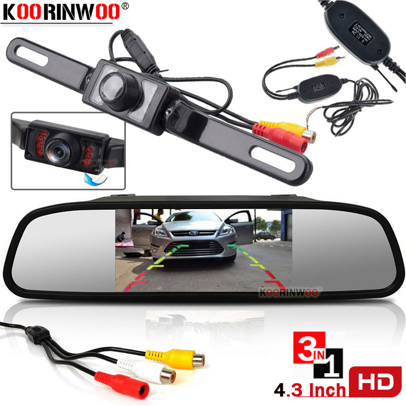 Koorinwoo Universal License 4 3 Inch TFT LCD Car Rear View Mirror Monitor for Backup Camera Reverse Video Parking Assistance