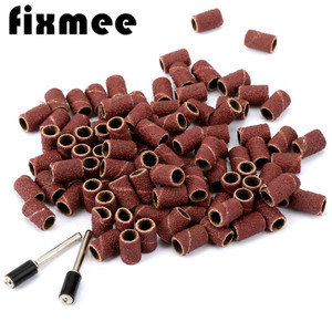"Image 1 - 100PCS Dremel Accessories 1/4"" Grit 80# Drum Sanding Kit +2X Band Mandrel 1/8"" Shank Rotary Tool Nail Drill Bits Abrasive Tools"