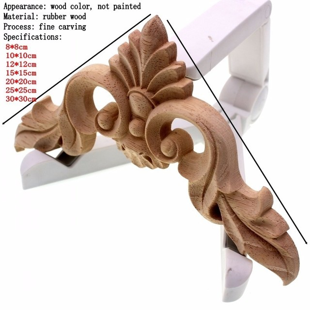 RUNBAZEF Wood Carving  Flower of European Furniture Door Small Home Decoration Crafts Figurines Miniatures Accessories 2