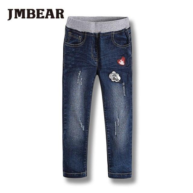 JMBEAR 2-6 лет девочки джинсы мальчики джинсовые брюки детская одежда детей брюки 2016 новый эластичный пояс
