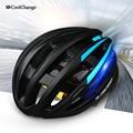 Coolchange 2016 ultraleve capacete moldado integralmente capacete da bicicleta mtb ciclismo capacete capacete da bicicleta de segurança aviso luz traseira