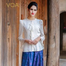 Blusas Femininas 2017 VOA New Fashion Silk White Blouse Solid O-Neck Full Sleeve Ruffles Ladies Tops B7555