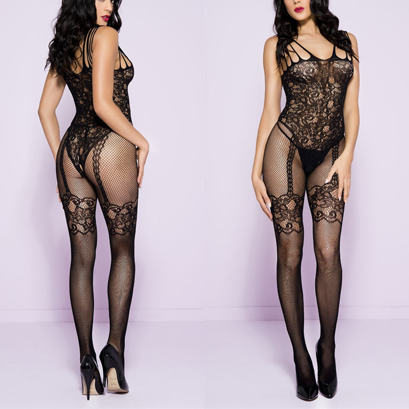 Plus Size BodyStocking Sexy Open Crotch Crotchless FishNet Sleeveless Body Stocking Bodysuit Lingerie Underwear For Sex Bodysuit