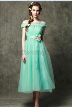 Graceful Boat Neck Tea Length Prom Gown A Line Wedding Party Bridesmaid Dress Tulle Flowers Sash