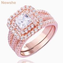 Newshe 2 pçs rosa ouro cor anel de casamento conjunto para as mulheres 925 prata esterlina noivado banda corte princesa aaa cz moda jóias