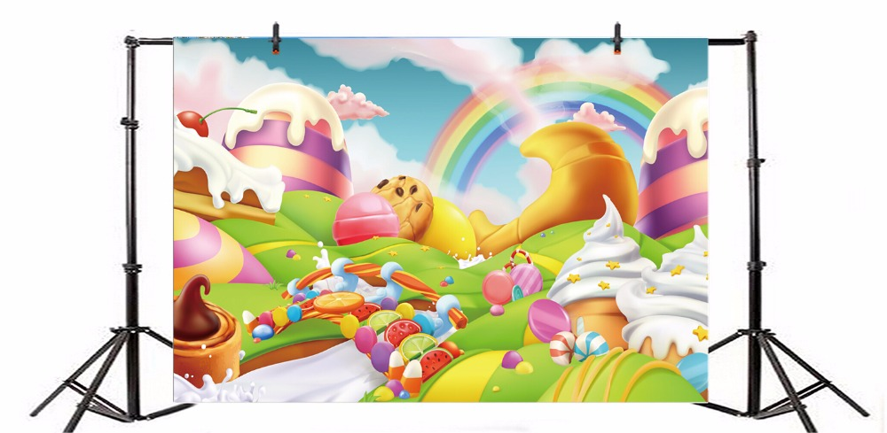 Laeacco Baby Cartoon Ice Cream Candy Rainbow Dreamlike Scene Photography Background Photographic Vinyl Backdrop For Photo Studio in Background from Consumer Electronics