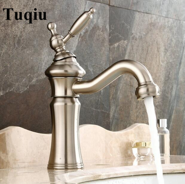 nickel brushed brass single lever hot and cold bathroom sink faucet basin tap nickel brushed bathroom lavatory faucet hot and cold single lever ceramic handle bathroom basin faucet sink mixer tap