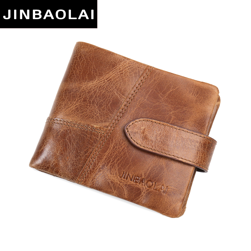 JINBAOLAI Genuine Leather Wallet Top Quality New Arrival Men Wallets Luxury Dollar Price Vintage Male Purse Coin Bag Carteira jinbaolai wallet men genuine leather zipper hasp coin purse short male leather men wallets money bag quality guarantee carteira