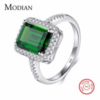 Modian Design Fashion Real 925 Sterling Silver Green Special Cut Ring Wedding Finger Zirconia Jewelry Engagement