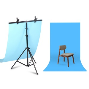 Image 2 - Aluminum Tripod with Cross Bar for Background Supporting T Shape Stand PVC Backdrops Holder 40cm 200cm Extendable Height Width