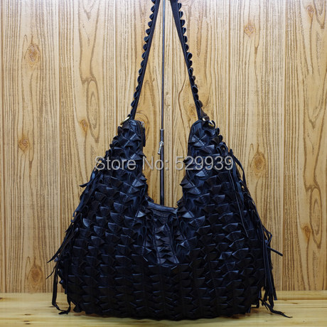 ФОТО Casual soft sheepskin pleated unique tassel sheepskin genuine leather female motorcycle leather hobo bags