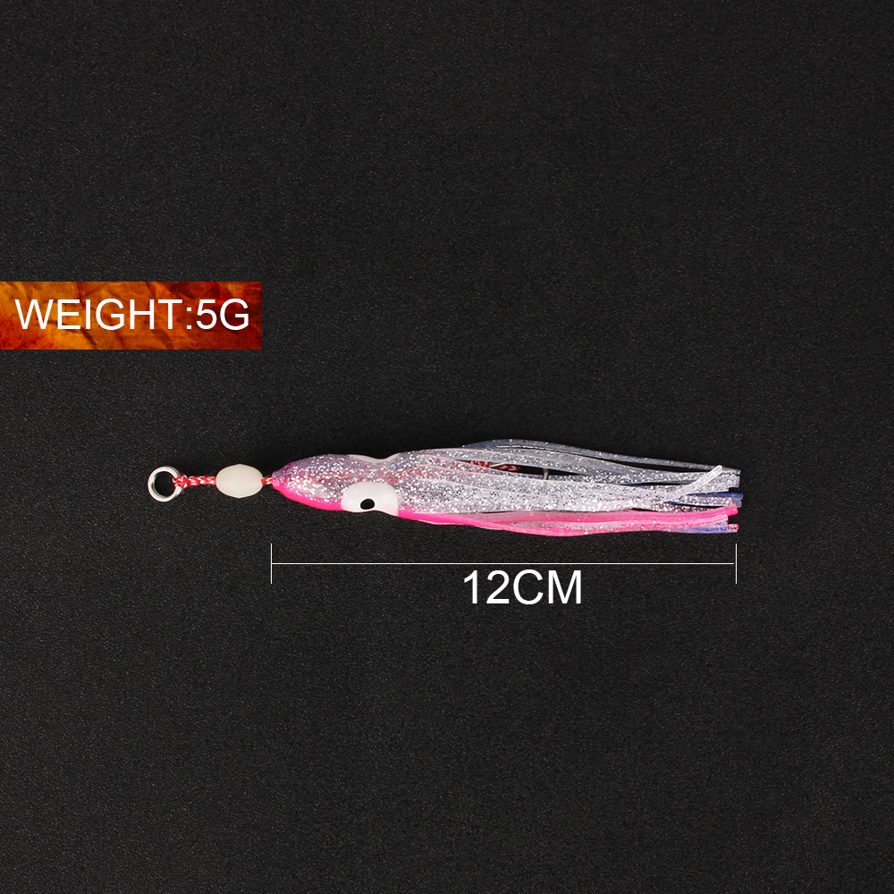 Soft Silicone Saltwater Octopus Bait long tail  Squid Skirt Lure Fishing Tackle