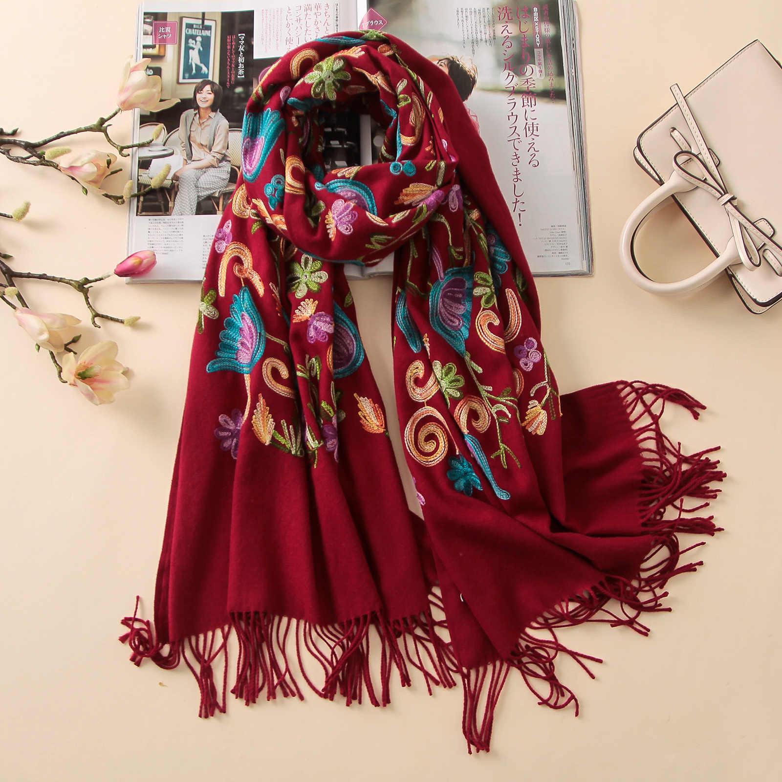 2020 デザイナー品質刺繍カシミヤスカーフヴィンテージ冬の女性のスカーフ大サイズショールとラップ女性ソフトウォーマースカーフ