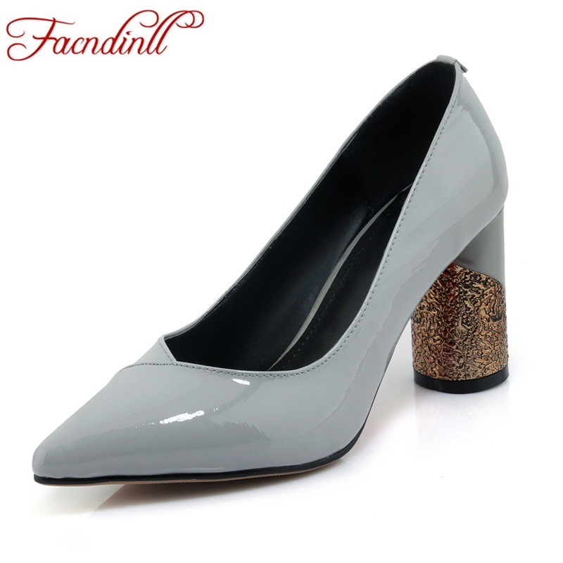 FACNDINLL new 2018 spring summer women pumps sexy high heels pointed toe black gray shoes woman dress party office lady pumps new 2017 spring summer women shoes pointed toe high quality brand fashion womens flats ladies plus size 41 sweet flock t179