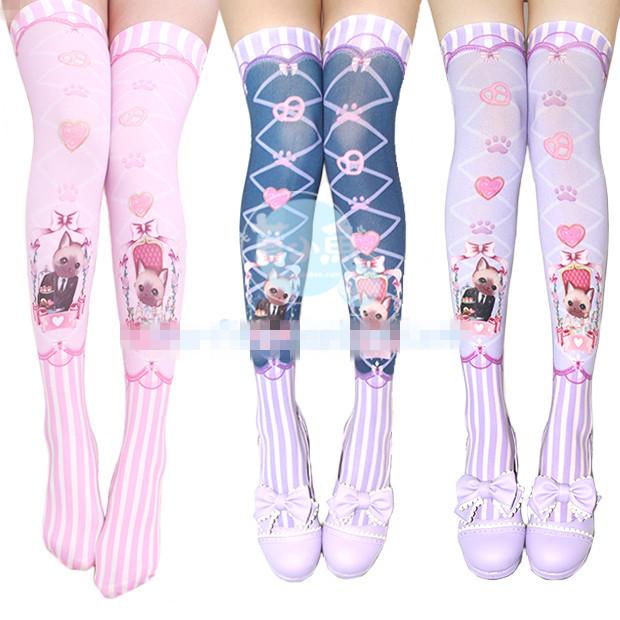 Princesa meias lolita doce peixe lindo amor bebê CATS impresso na altura do joelho meias de rosa coração cruz banda gato meias GXW14