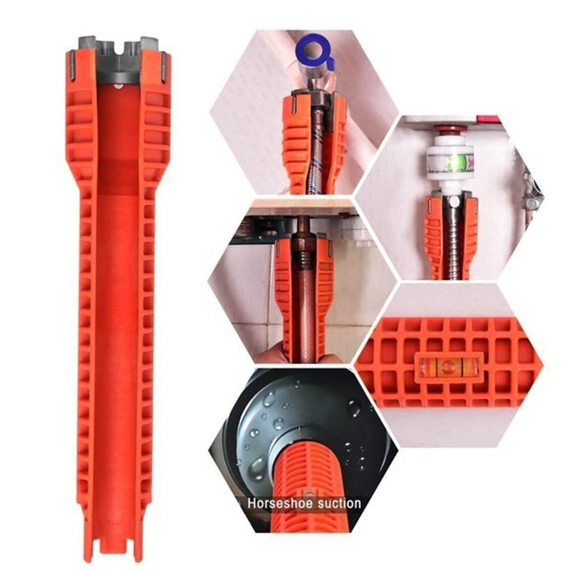 MYLB nuevo grifo lavabo y instalador llave Anti-Mango antideslizante de doble cabeza herramienta de la llave Extra-larga diseño llave herramientas